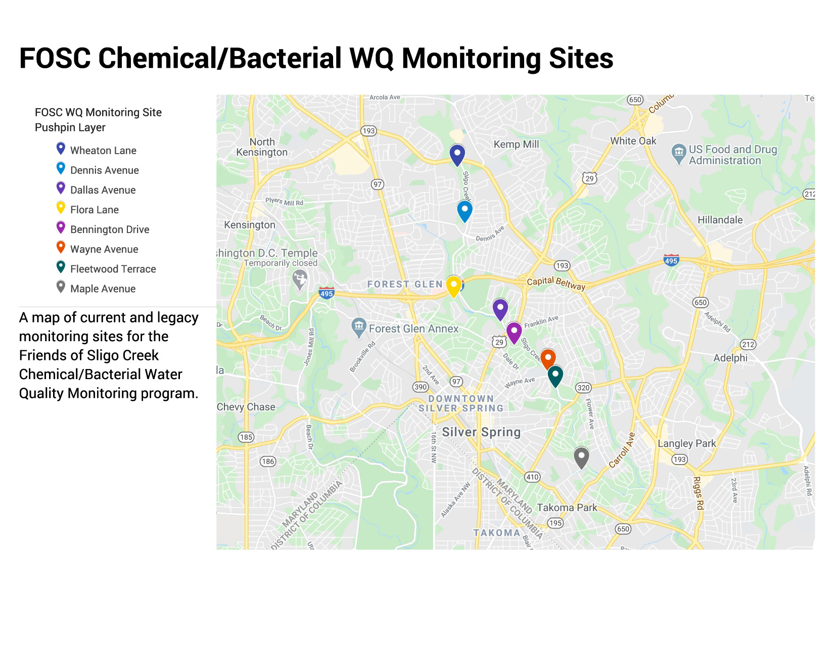 Map of FOSC Physical/Chemical Water Quality Monitoring Sites
