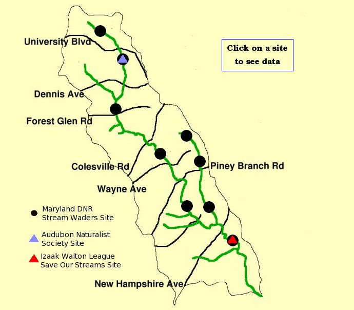 Biological Monitoring sites on Sligo Creek