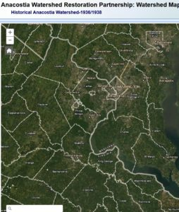 Map of watersheds in DC region 1936 - 1938