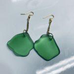 Glass earrings created from Sligo litter.
