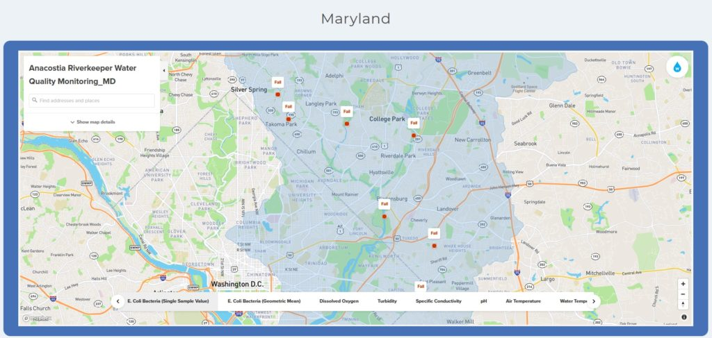 Anacostia RiverKeeper Water Quality Data Map late August 2020 showing failing grade for MD streams including Sligo Creek