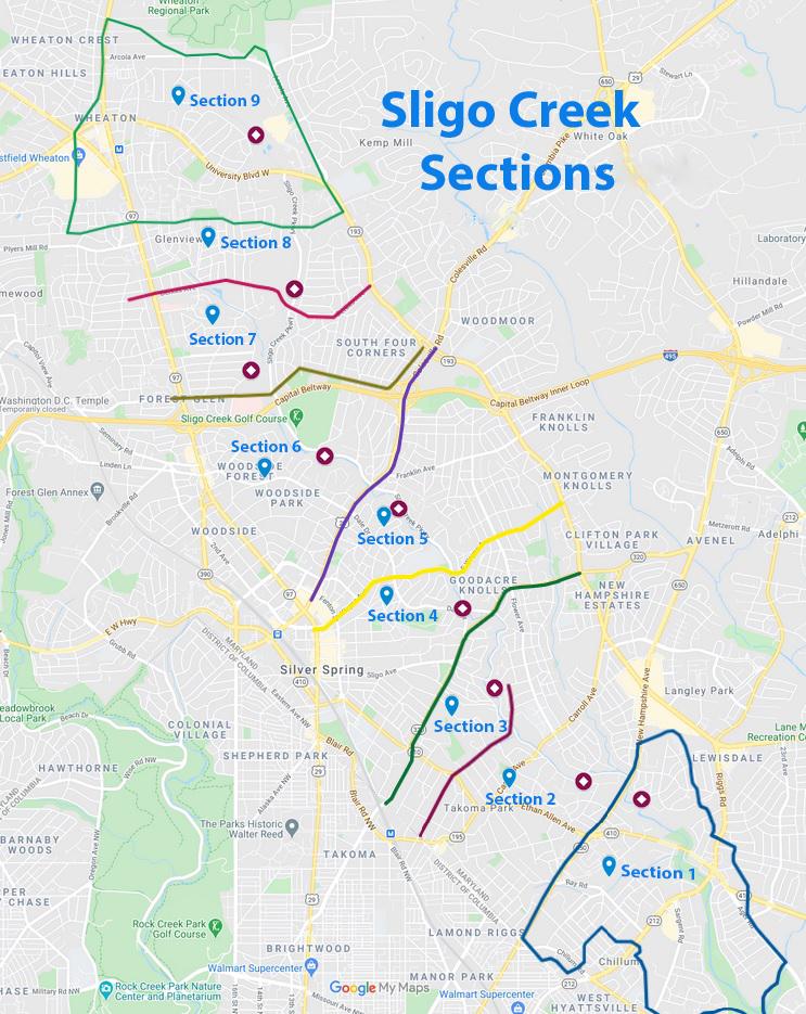 Sligo Creek Section Map with FOSC kiosk locations