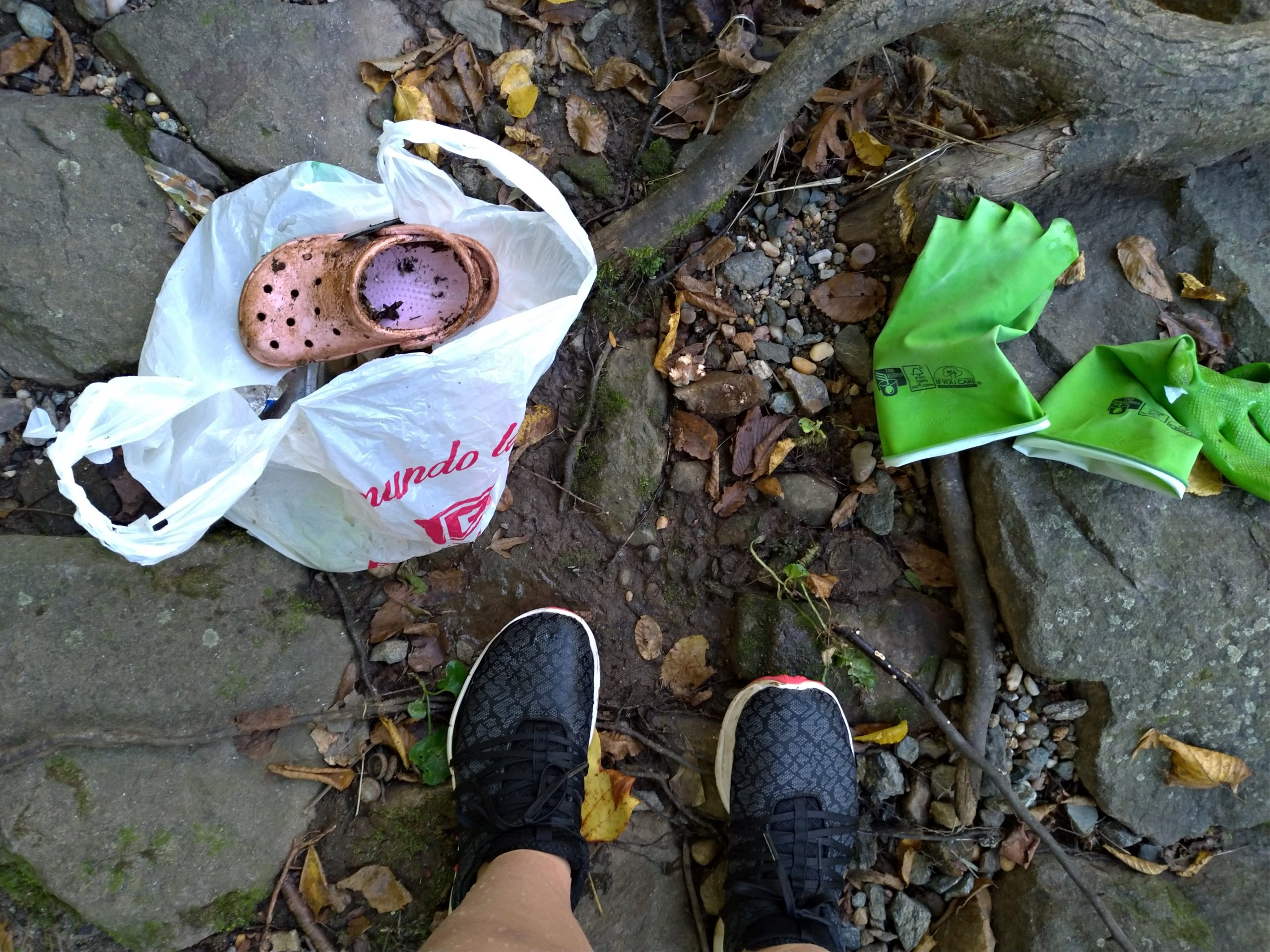A lone pink croc shoe amid the debris collected at last Fall's Sweep the Creek.