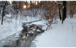 Snowy Sligo Creek at sunset by Michael Wilpers