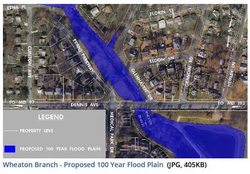 Wheaton Branch 100 year Proposed Flood Plain courtesy of the Department of Environmental Protection, Montgomery County, MD