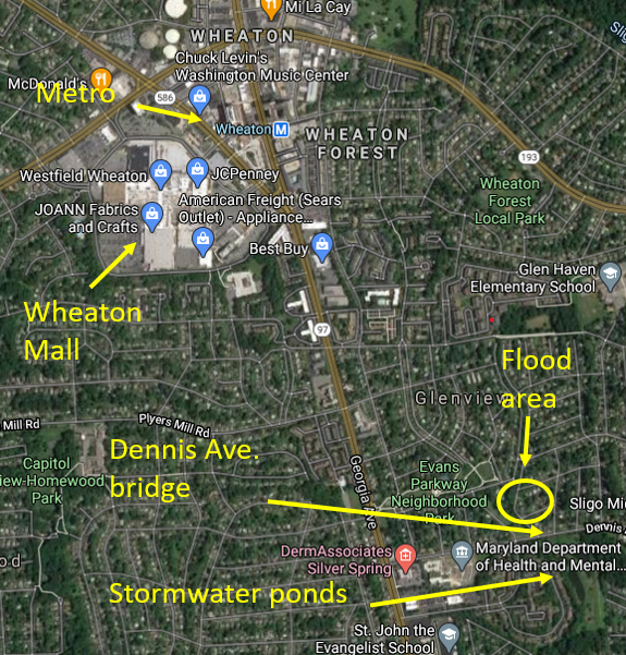 Map of Wheaton Branch Flood Mitigation Project - issues