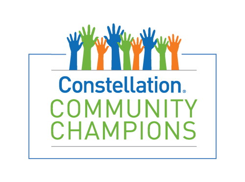 Constellation Energy's Community Champions logo featuring raised hands in green, blue and orange.