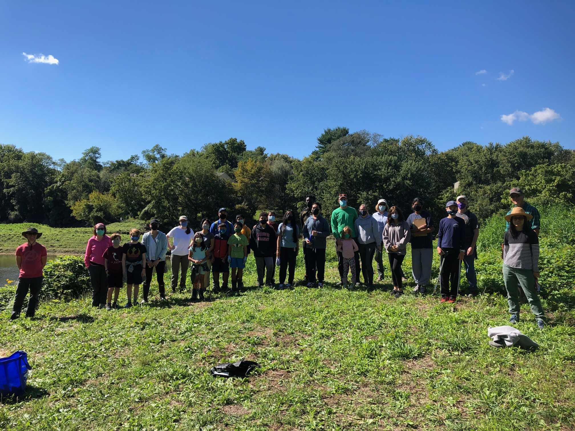 Fall 2021 Sweep the Creek Sligo Middle School students at the Wheaton Stormwater Ponds